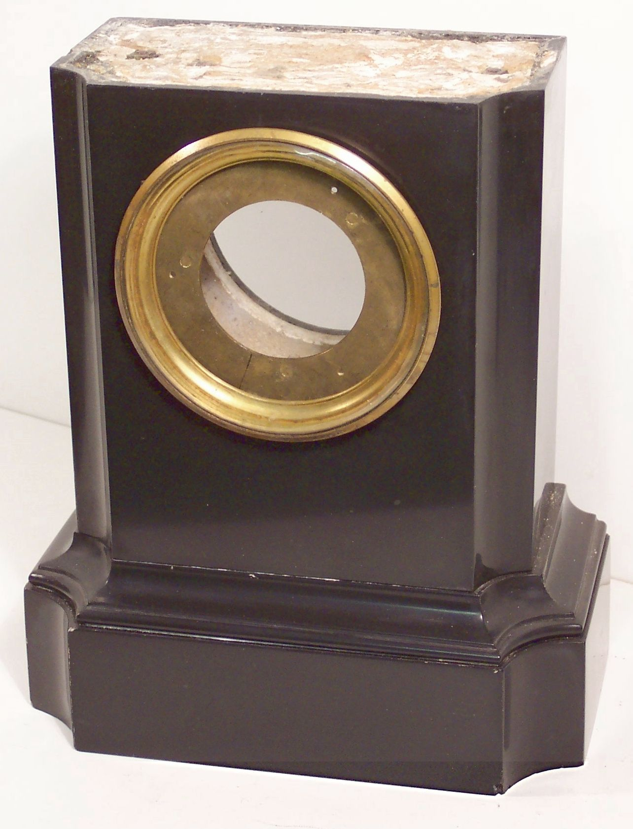Restoring a black marble clock case with Clocks Magazine, figure 1